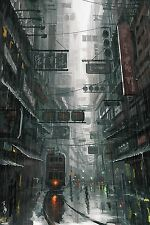 """HONG KONG STREET SCENE SPEED PAINTING 12x18"""" Unstretched Canvas Art Print"""