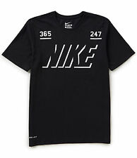 "NIKE Men's Dri-FIT Cotton ""365 / 247"" T-Shirt ** BLACK/WHITE - Large ** NWT"