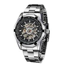 Black Dial Men Skeleton Stainless Steel Self-winding Mechanical Sport Watch Y4X3