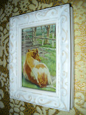 BARNYARD COW 3 1/2 X 4 1/2 tiny standing wood frame a Victorian style art print