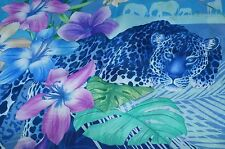 Salvatore Ferragamo Women's Blue Silk Scarf Leopard Floral Logo Multi Shawl NWT