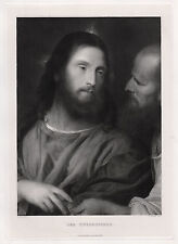 """Biblical 1800s TITIAN Antique Detailed Engraving """"The Tribute Money"""" SIGNED COA"""
