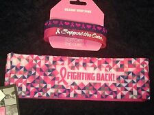 NWT Breast Cancer Awareness 2 Silicone Wristbands, 1 Fabric Headband Pink Ribbon