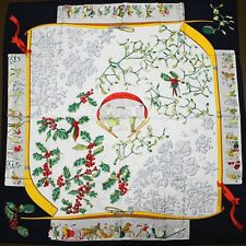 Auth Vintage HERMES SCARF from 1989 Neige d Antan Caty Latham Blue