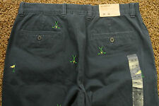 J. CREW RARE SAMPLE Embroidered Golf Clubs Twill Cotton Pants 32X32 NWTS Dk Blue