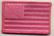 LOT OF 2 - US FLAG PINK EMBROIDERED PATCH