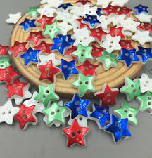 NEW 100X Pentagram Sewing Buttons Resin scrapbooking Mixed-color decoration 13mm