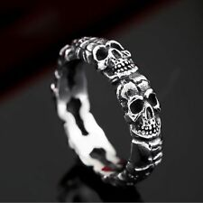 Retro Men Women Jewelry Full Skull Punk Gothic 316L Stainless Steel Ring Sz 10