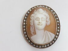 9ct Gold vintage Cameo Brooch surrounded by Seed Pearls