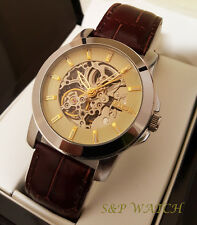 New Men Elgin Elegant Skeleton Automatic Chronograph Leather Band Analog Watch