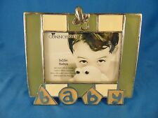 """Picture frame BABY ceramic 3 1/2"""" x 5"""" table top green cream colors Connoisseur"""