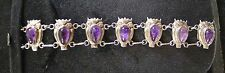 VINTAGE--Mexican Sterling Bracelet--Owls with Amethyst--Solid Cast---Buy It Now!