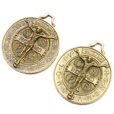 40pcs Lots Retro Jewelry Vintage Bronze Alloy Jesus Cross Round Pendant Charms J