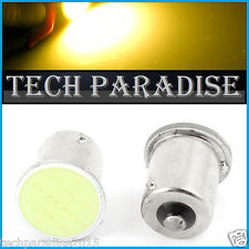 2x Ampoule LED COB 12 Chips Jaune Orange Yellow cligno P21W / BA15S / 1156 / R5W