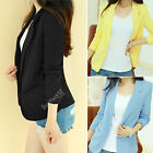 Womens Ladies Slim Shoulder Pad Long Sleeve No Button Suit Jacket Tunic Blazer
