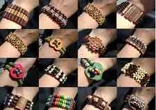 1232JE BULK Bracelet Mix Bangle Wood Beaded Gift Resale,  Adjustable,  24 Qty