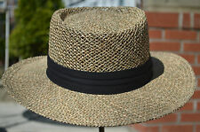Straw Gambler Panama Cowboy Hat Vent Air Summer Hat Seagrass UV Protection 50+