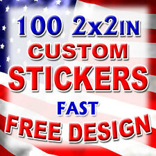 100 2x2 Custom Printed Full Color Outdoor Vinyl Car Bumper Sticker Decal Die Cut