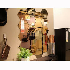 12PCS Gold Mirror Hexagon Sticker Geometric Wall Bedroom Living Room Home Decor