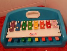 VTG 1985 Little Tikes Tap A Tune Xylophone Piano with Song Book Keyboard Blue