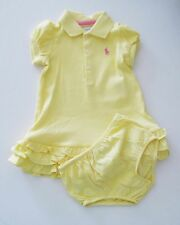 Ralph Lauren Baby Girls Polo Dress & Bloomer Set Course Yellow Sz 12M - NWT