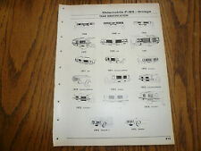 1968 69 70 71 72 73 74 75 Oldsmobile 442 F85 Model Identification Service Data