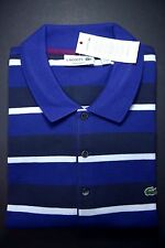 NWT Lacoste Men's Regular Fit Blue/Navy Striped Mesh Cotton Polo Shirt XL Eur 6