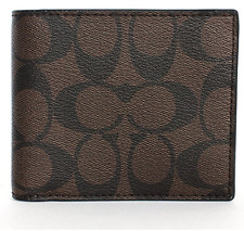 NWT Coach Men's F74993 Compact ID Signature Mahogany Brown PVC Wallet