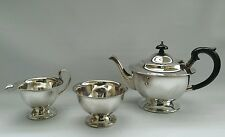 Vintage Art Deco Sheffield Silver Plated 3Pc Teaset c.1930 EH Parkin