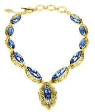 NWT Amrita Singh Real Housewives Camilla Shells Lapis Resin Necklace NKC 3005
