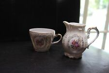 . PORCELAIN TEA CUP AND CREAMER, CROWN HALLMARK, JAPAN, CAMEO DESIGN