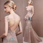 Mermaid Nude Formal Wedding Dress Prom Long Evening Dress Party Gowns Customize