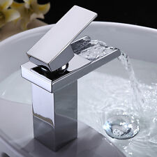 New Chrome Waterfall Faucet Bathroom Basin Tub Sink Mixer Tap Single Handle