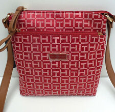 TOMMY HILFIGER Woman's XBody Messenger Bag *Dark Red/Tan/Gold Shoulder Purse New