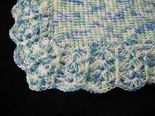 NEW Handmade Crochet Baby Blanket Afghan ( Blue, Green, White)