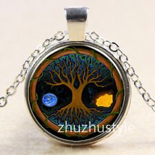 Vintage Fire/Ice Tree Cabochon Tibetan silver Glass Chain Pendant Necklace y34