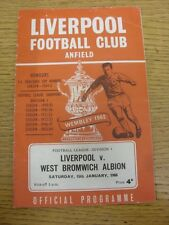 15/01/1966 Liverpool v West Bromwich Albion  (Creased, Folded, Worn). Footy Prog