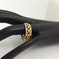 14K YELLOW GOLD WEDDING BAND LINK FILIGREE ENDLESS ALL AROUND RING SIZE 12