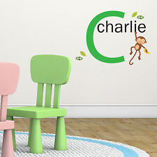 Jungle Monkey Green Personalised Name Kids Room Children's Wall Sticker Vinyl