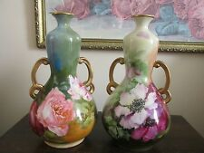 Pair JPL Jean Pouyat Limoges France Hand Painted Vases Roses Poppies Signed
