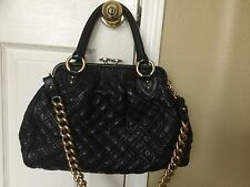 Marc Jacobs Black Quilted Leather & Gold Chain Stam Satchel Bag