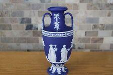 """Antique Wedgwood Cobalt Blue Jasper Ware Muses Trophy Tall 10"""" Vase (c.1900)"""