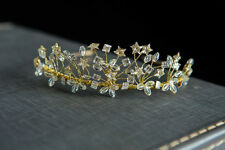 Stunning Gold Hand beaded Swarovski star crystal tiara -Vintage inspired wedding