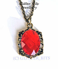 VAMPIRE DIARIES BONNIE BENNETT RED CRYSTAL NECKLACE PENDANT WITCH THE ORIGINALS