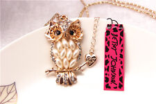 Betsey Johnson Fashion Necklace lovely owl Crystal Pendant Sweater Chain #41