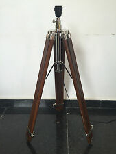 NAUTICAL TRIPOD WOODEN FLOOR LAMP STAND Brown FINISH HOME AND DECOR !