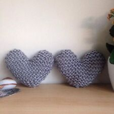 Set of 2 Handmade Hand Knitted Silver Grey Heart-Shaped Decorative Cushion