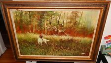 BARRY HOUND DOG HUNTING QUAIL BIRD ORIGINAL OIL ON CANVAS LANDSCAPE PAINTING