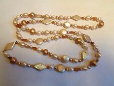 Vintage Antique Fresh Water Pearl Mother of Pearl Amber GLASS Beaded Necklace