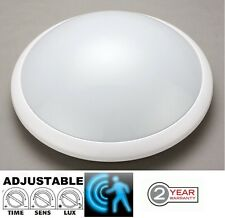 IP44 Microwave Motion Sensor Detector Bulkhead ES E27 Fitting White Case